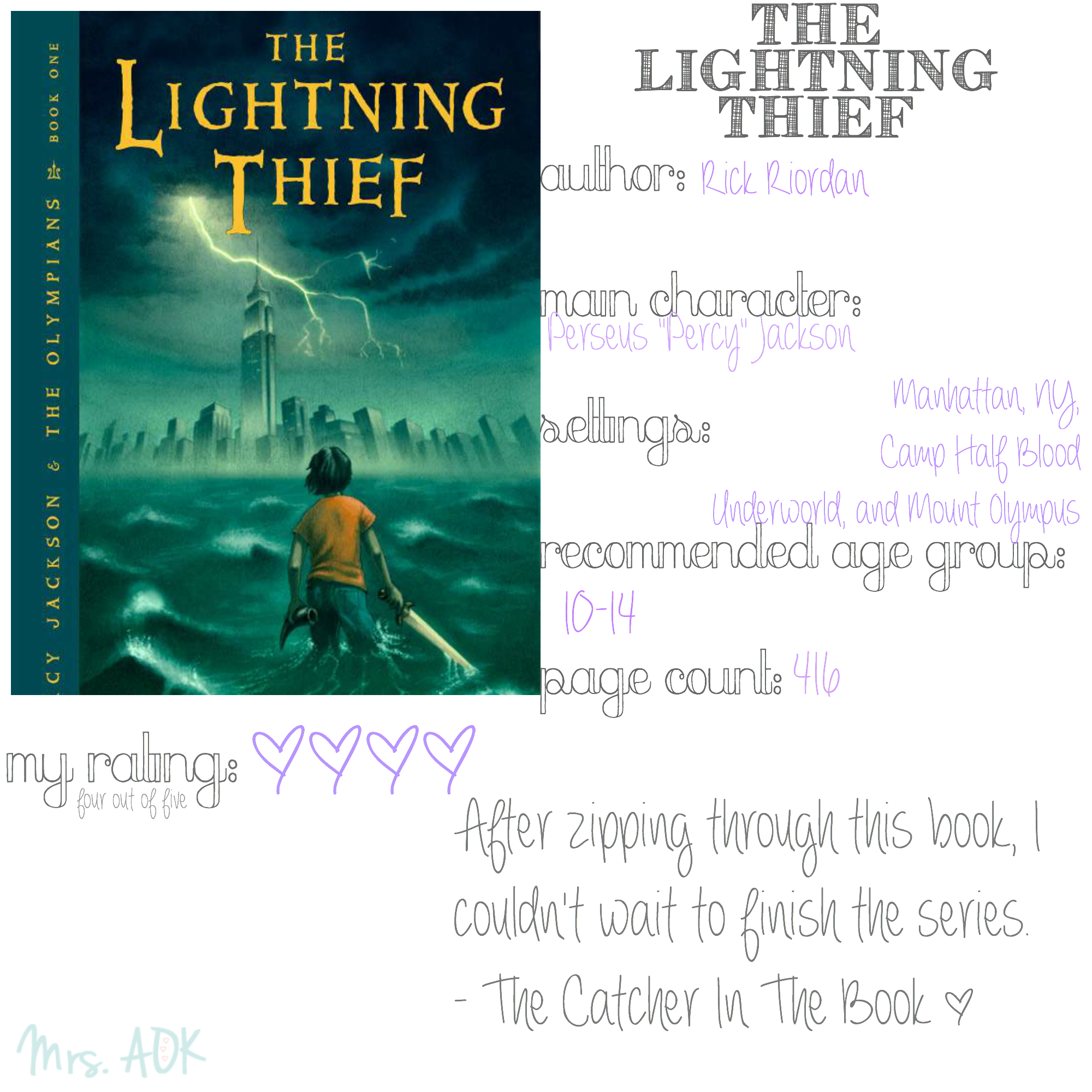 percy jackson and the lightning thief book report Percy jackson & the olympians: the lightning thief  percy jackson & the olympians: the lightning thief (2010)  book-film franchise universes you want to live in:.